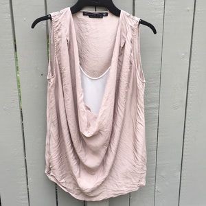 Mackage Silk Taupe Blouse Size XS